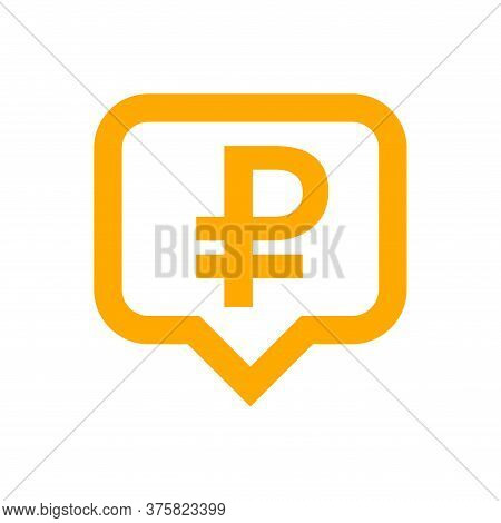 Ruble Currency Symbol In Speech Bubble Square Shape For Icon, Russia Ruble Money For Symbol