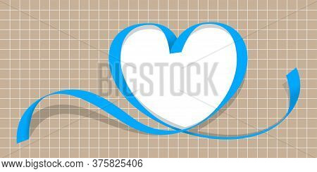 Ribbon Blue With Heart Shape On Grid Background, Copy Space, Ribbon Line Heart-shaped, Heart Shape R