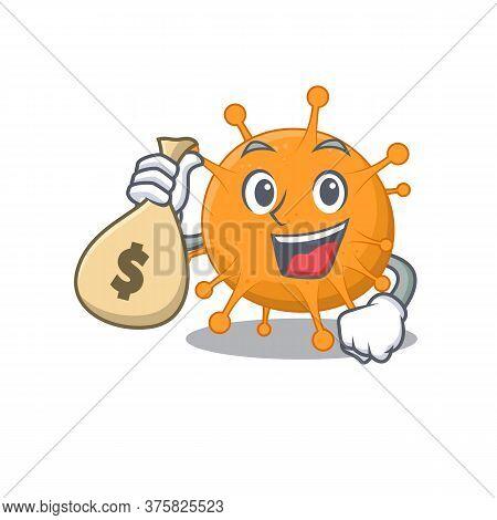 Crazy Rich Anaplasma Mascot Design Having Money Bags