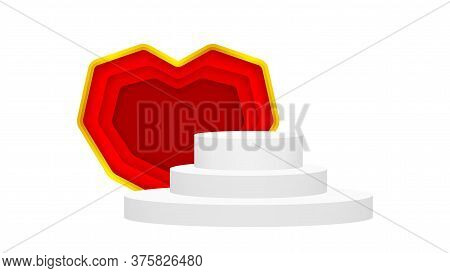 Modern Pedestal Stage White Grey And Luxurious Red Heart Shape, Stage Podium 3d For Cosmetics Produc