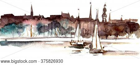 Panorama Of The Latvian Capital, Riga, From The Side Of The Daugava River, Watercolor Drawing, Trave