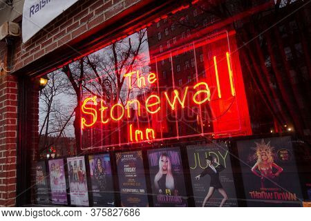 New York, Ny / United States - March 3, 2020: Closeup On The Window And Sign Of The Stonewall Inn. G