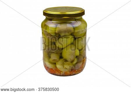 Delicious Marinated Mushrooms In Glass Jar Isolated On White Background