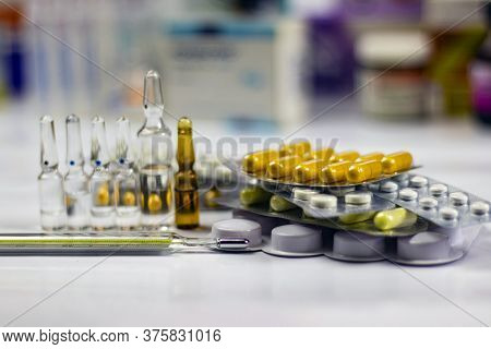 A Prescription Drug To Treat A Drug. Pharmaceuticals, Treatment In A Container For Health. Pharmacy