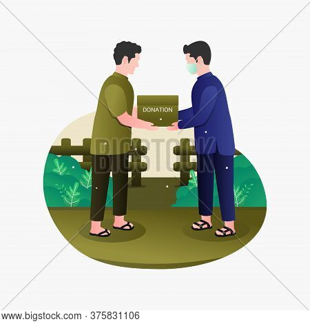 Vector Illustration Of A Good Person Giving A Donation Or Alms
