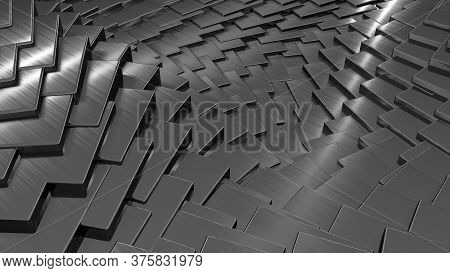Shiny Metallic Titanium Rectangles Pattern. 3d Render Of Abstract Dark Background.