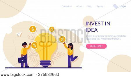 Invest In Idea Concept. Businessman Or Investor Putting Dollar Coin Into Slot In Light Bulb. Venture