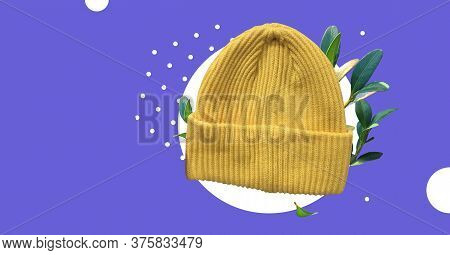 Yellow Winter Hipster Hat With Fresh Plants Isolated On Abstract Colorful Background. Fashion Casual