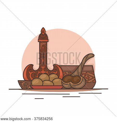 Traditional Kazakh Treat For The Holiday. Baursaki, Koumiss And Shubat. National Asian Food. Vector
