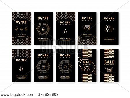 Vector Set Of Social Media Stories Honey Gold Gradient Honey Bee, Honeycombs, Honey Stick, Beehive.