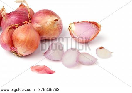 Shallot Put Together As A Group Small And Large With Slice Cooking Shallot Fresh From The Garden Sha