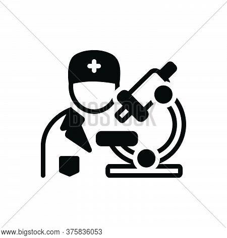 Black Solid Icon For Pathologist Biochemist Diagnosis Pharmacology Experiment Scientific Medical Tec
