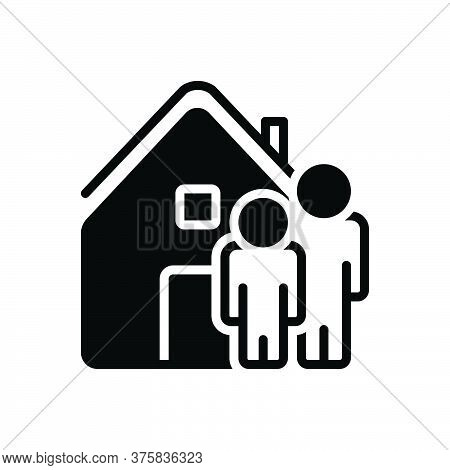 Black Solid Icon For Ours We House Home Residence Accommodation Habitation People