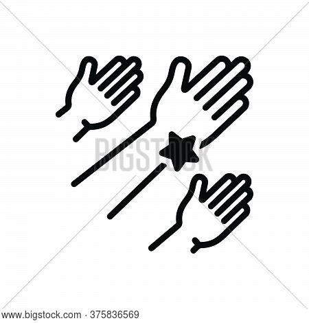Black Solid Icon For Outreach Community Helping-hand Advocacy Charity Donate Teamwork Unity Voluntee