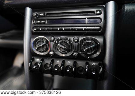 Bordeaux , Aquitaine / France - 07 10 2020 : Mini Details In Car Interior Design Of Mini Cooper