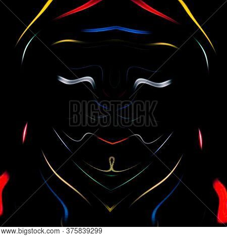 Color Smoke Monster Illusion Face Design Isolated On Black Background. Geometry Series - Abstract Fa