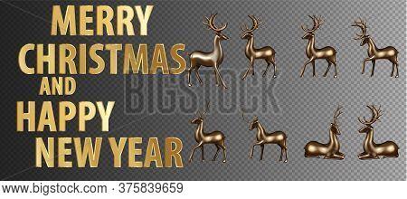 Big Set Gold Deer. Merry Christmas Happy New Year Deer Greeting Card Illustration, Realistic 3d Soli