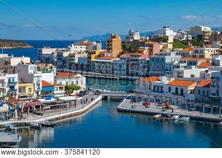 Agios Nikolaos, Crete, Greece. Agios Nikolaos Is Town In The Eastern Part Of The Island Crete In Bay