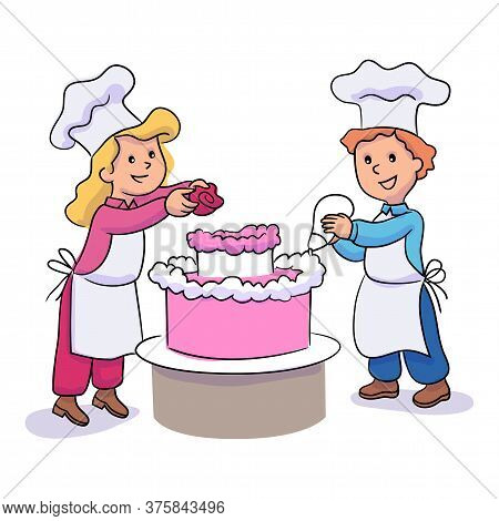 Little Boy And Girl Decorating Cake With Icing And Cream Rose. Cute Children Character Cooking, Baki