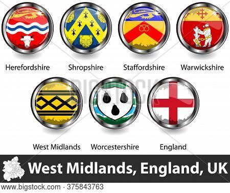 Flags Of West Midlands Region In England, United Kingdom In Glossy Badges. Vector Image