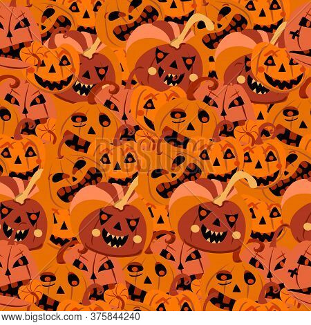 Many Evil Different Pumpkins With Emotions On Halloween Seamless
