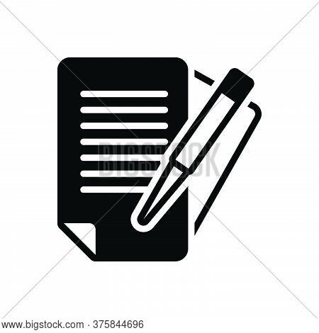 Black Solid Icon For Paperwork Bureaucracy Documents Overwork Education Pen