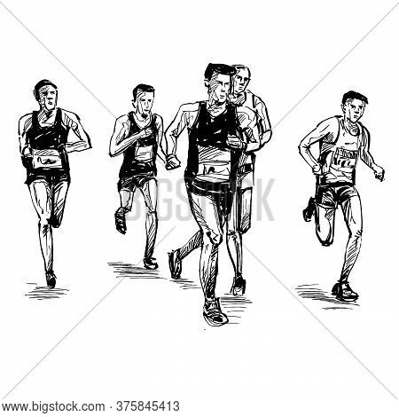 Drawing Of The Running Competition Show Group Runners