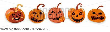 Set Of Evil Pumpkins With Different Emotions For Halloween Holiday For Web And Print Decoration
