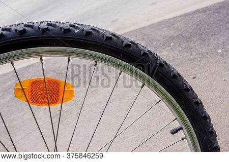 Bicycle Tyre In Details  With Cat Eye Reflector