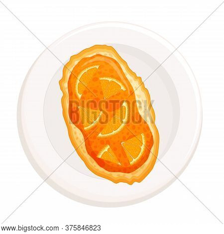 Toast With Orange Jam Top View. Vector. Bruschetta, A Sandwich.
