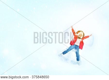 Snow Angel Idea. Happy Woman Enjoying First Snow, Lying In Snow And Making Snow Angel. Copy Space.