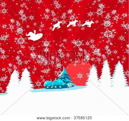 Happy New Year Card With Santa And Winter Landscape
