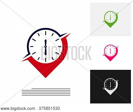 Clock Point Logo Design Concept Vector. Time Management Point Logo Template. Concept Icon Isolated O