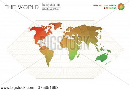 Low Poly Design Of The World. Eckert I Projection Of The World. Red Yellow Green Colored Polygons. A