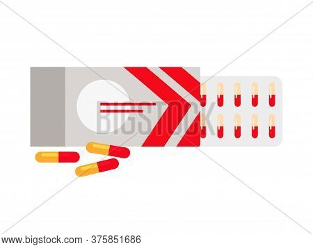 Tablets And Capsules In Blister, Paper Packages. Pharmaceutical Objects Isolated On White. Painkille