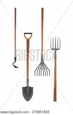 Farmer Equipment Flat Set. Gardening, Planting Tool Kit. Cartoon Small Hoe, Rake For Harvesting Leav