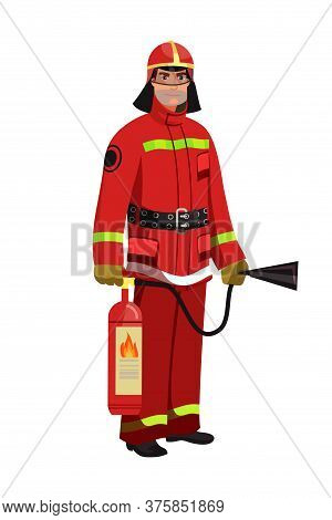 Man Firefighter In Red Protective Uniform, Mask And Helmet With Fire Extinguisher Standing On White.