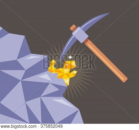 Mining Of Gold From Rocks. Cut The Mineral With A Pickaxe From The Stone. Flat Vector Illustration.