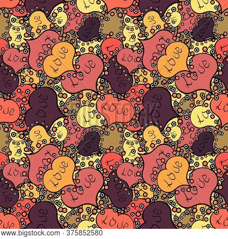 Design For Decoration, Gift Paper, Textile. Vector. Valentines Day Background. Love Romantic Theme.