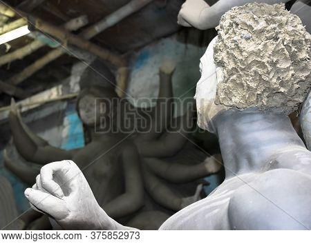 Artist Preparing Clay Idol Of Asura, The Demon , For