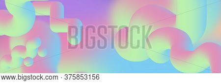 Hologram Gradient Background Set With Holographic Cover. Graphic Template For Brochure, Banner, Wall