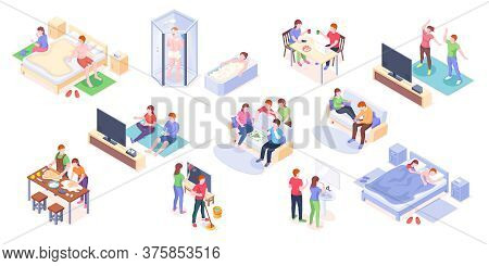 Couple Daily Life Isometric Design, Man And Woman Home Routine And Everyday Leisure Activity. Couple