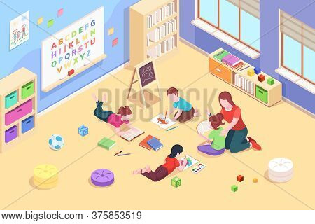 Kindergarten Classroom With Children Playing And Reading, Painting. Preschool Teacher With Kids. Iso