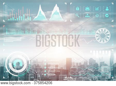 Stock Market Charts On Background Of Financial District Of Megapolis City. Digital Economy And Tradi