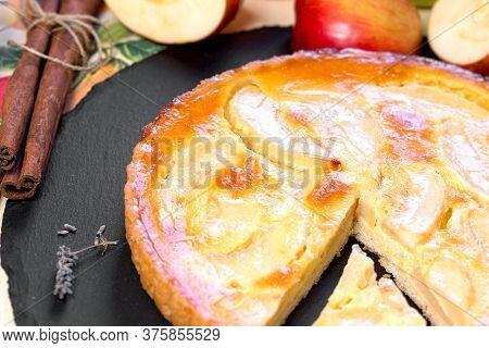 Homemade Apple Pie, Delicious Apple Tart Pie Closeup, A Delicious Treat