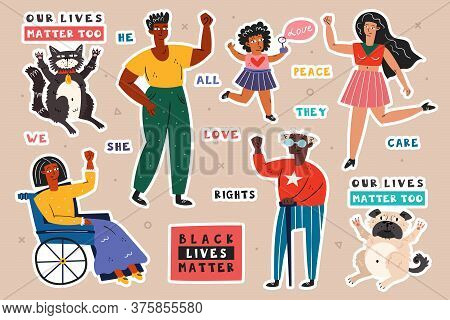 All Lives Matter. Different Races People With Hands Up. Man, Woman, Child, Invalid. Dark, Light Skin