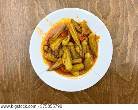 Traditional Healthy Organic Turkish Food Okra With Tomato Paste And Olive Oil.
