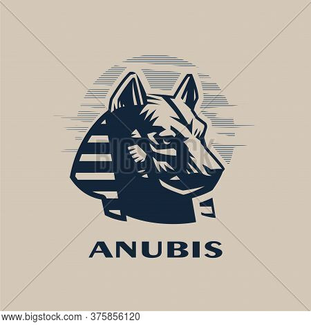 Egyptian God Anubis. The Head Of A Wolf Or Dog In A Traditional Egyptian Headdress. Vector Illustrat