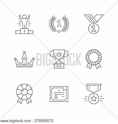 Set Line Icons Of Award Isolated On White. Laurel Wreath, Sport Podium, Medal, Crown, Winner Cup, Qu