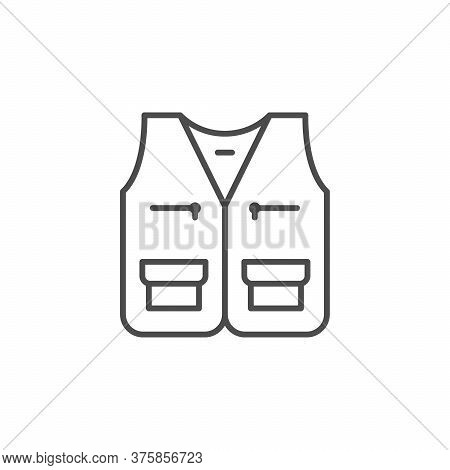 Hunting Waistcoat Line Outline Icon Isolated On White. Travel, Sport, Military Clothing Front View.